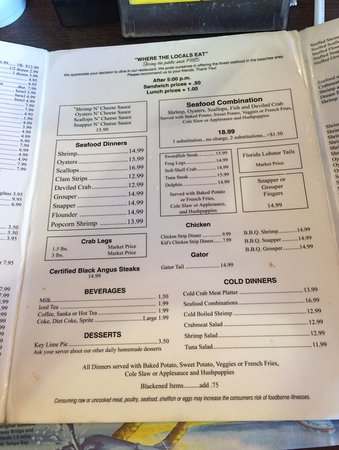 Atlantic Beach, FL: Seafood Kitchen menu