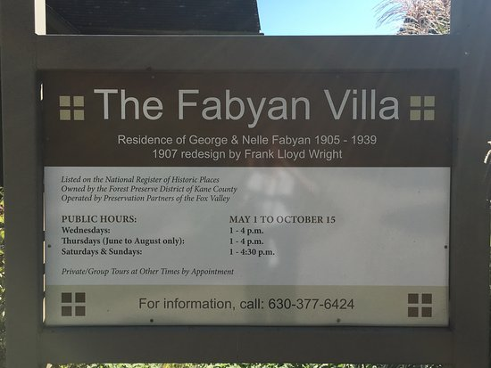 Geneva, Илинойс: Sign for the Fabyan Villa