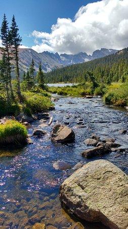 buy popular 41975 9b75e Indian Peaks viewed from bridge around Long Lake outlet ...