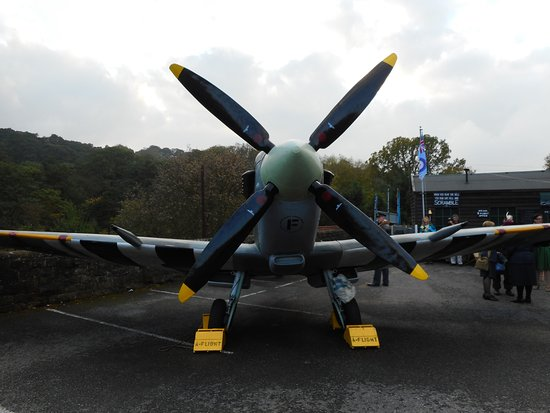 Pickering, UK: The replica Spitfire plane at Grosmont.