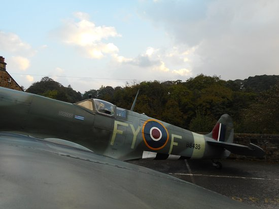 Pickering, UK: Side view of the Spitfire.