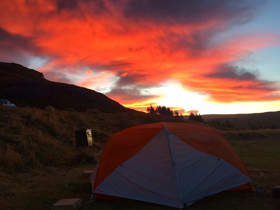 Patreksfjorour, Iceland: Sunrise at the camp ground