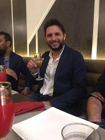 Ilford, UK: Shahid Afridi ready to enjoy dinner at Sahara Grill Dubai