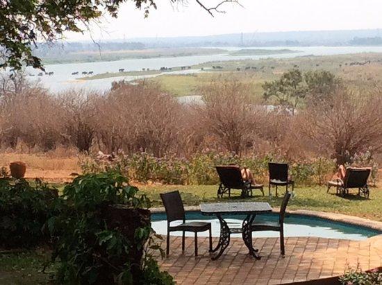 Imbabala Zambezi Safari Lodge: See the elephants crossing the river in the background