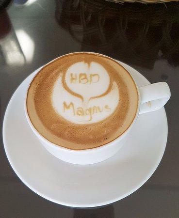 Royal Kamuela Ubud: Happy Birthday latte art from the coffee shop