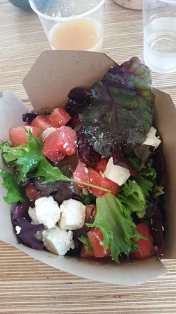 Kingsbridge, UK: Tasty feta, watermelon and fennel seed salad.