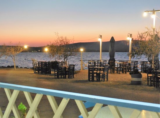 Vatera, Yunani: View from covered area, of outside seating & Gulf of Kalloni