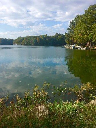 Reston, VA: Reflection of autumn colors in Lake Thoreau.