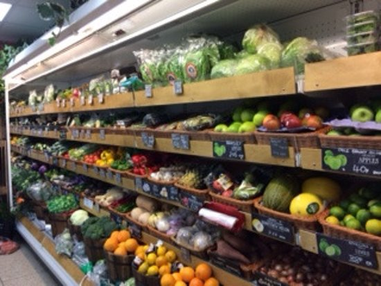Holmfirth, UK: selection of vegetables and fruit