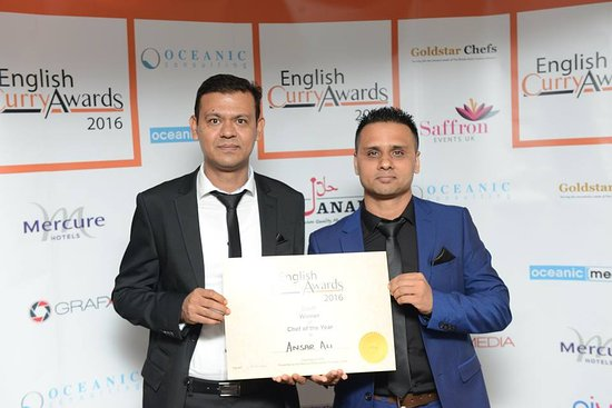 Mildenhall, UK: Jay Ali and Ansar Ali (Chef of the Year for East Region) English Curry Awards 2016