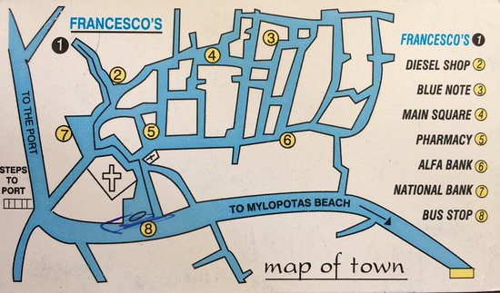 Map of Chora the main town in Ios Greece Picture of Francesco s