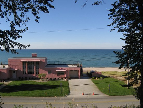 Beverly Shores, IN: This is the view from the front of The House of Tomorrow at the Indiana Dunes National Lakeshore