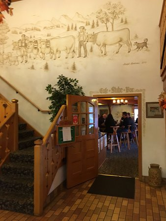New Glarus, WI: Entrance to the restaurant. So Swiss!