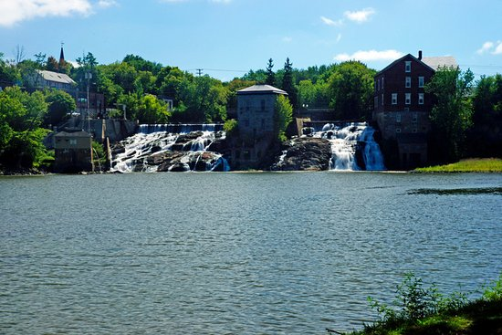 A scenic view of Vergennes Falls from the park.