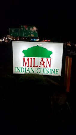 Milan Indian Cuisine : The evening sign is hard to miss.