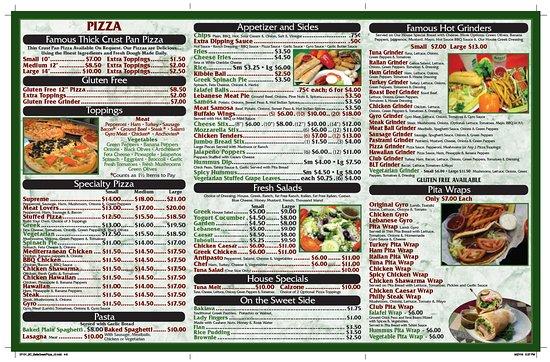 Bell's Greek Pizza: Menu