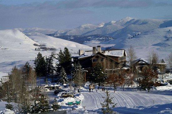 Winthrop, Waszyngton: Sun Mountain Lodge winter evening