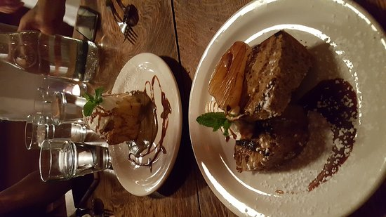 Rockport, ME: To die for bread pudding with expresso sauce and a savory cake woth carmelized pear and cremé fr