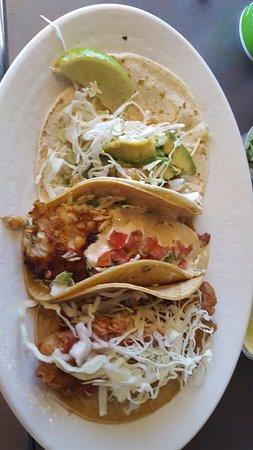 Palmdale, CA: Coastal trio taco plate from rubios.