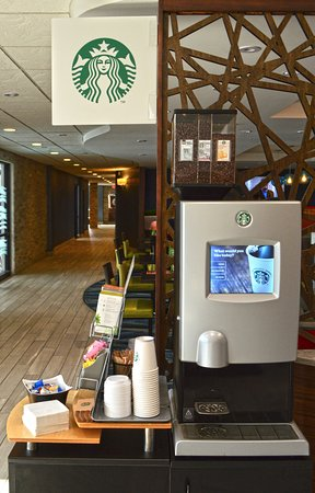 Maplewood Suites Extended Stay: On Demand Starbucks Machine located in the Lobby