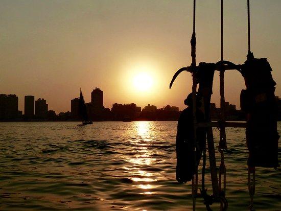Zamalek (Gezira Island): Zonsondergang op de Nijl