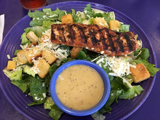 Taylor Cuisine Cafe & Catering: Tasty blackened salmon Caesar salad with homemade croutons. Our server, Faye was very attentive.