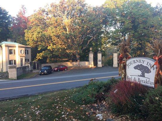 Journey Inn Bed & Breakfast : Guardhouse and entrance to Vanderbilt manion across the street.