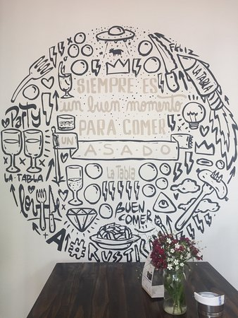 Prowincja Mendoza, Argentyna: Cool wall art at the front of the restaurant