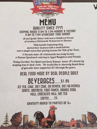 Hays, KS: The menu says it all, since 1949