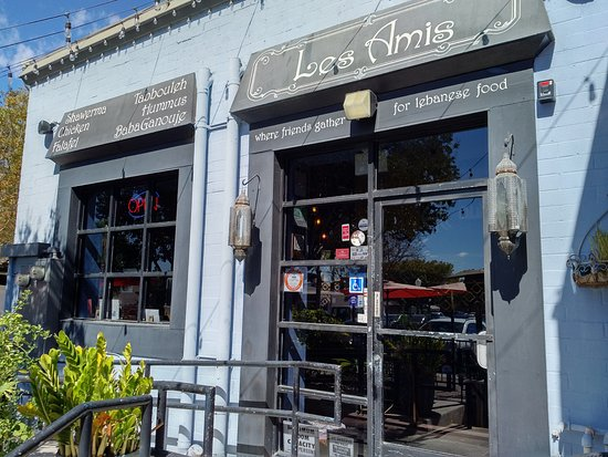 Entrance to Les Amis in Fullerton, CA