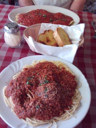 Spaghetti Bender: Beef ravioli and spaghetti and meatballs.