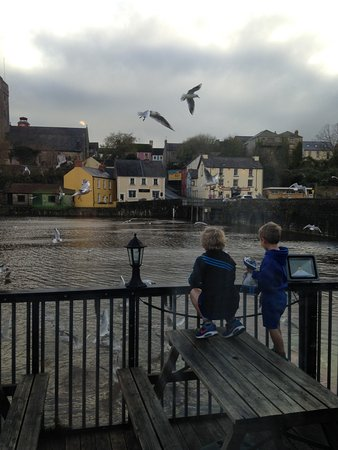 Pembroke, UK: Children feeding the gulls.