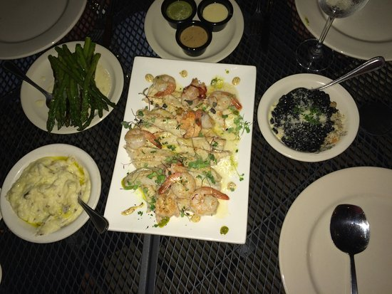 Katy, TX: Seafood Trio with Mashed Potatoes, Asparagus, and Rice. Very Good!
