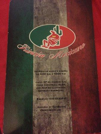 San Juan de la Maguana, Dominicaanse Republiek: Menu cover with location and hours