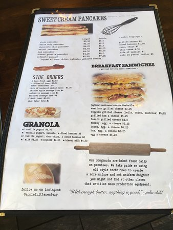 San Mateo, CA: Apple and blueberry fritters. Extensive menu