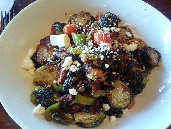 Cle Elum, WA: Deep fried brussel sprouts, combined with feta cheese, italian peppers, tomatoes and fresh spice