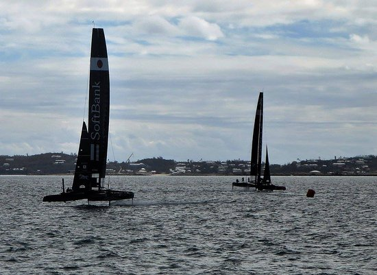 Hamilton, Bermuda: Lucky enough to watch these catamarans practice for the big race