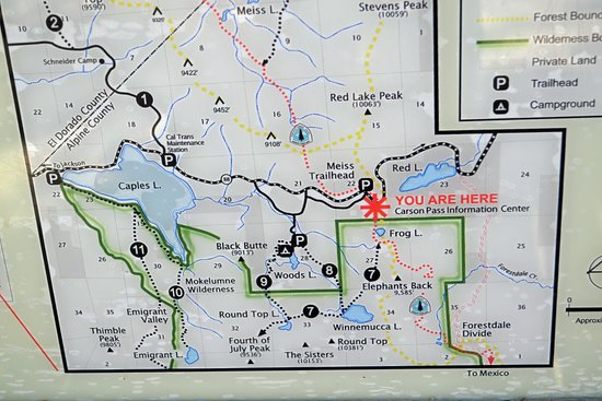 Map at the Trailhead Picture of Carson Pass South Lake Tahoe