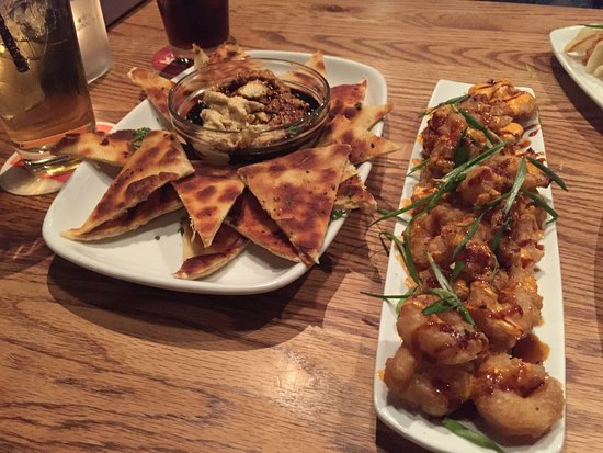 Original Joe's: Hummus & Naan w/ Spicy Tempura Shrimp