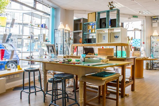 Penarth, UK: Our studio work area. See all glass produced on site.