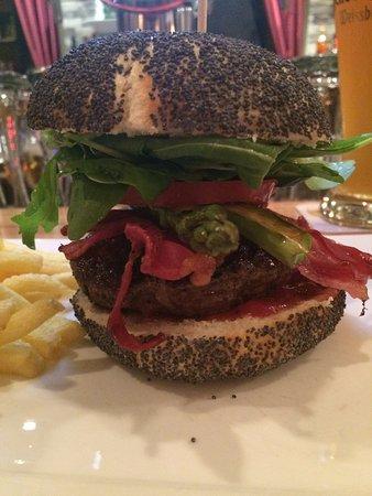 Oberhausen, Germany: Burger mit Rucola, grünem Spargel, Bacon, Tomate