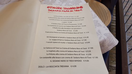 Trevi, Italie : menù al sedano
