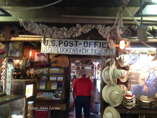 Inside the 1800s post office at Luckenbach Texas.