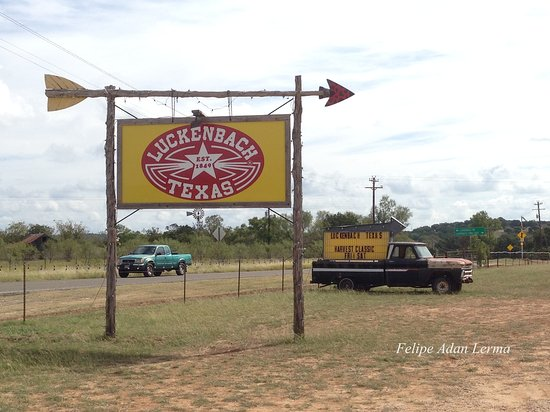 Luckenbach Texas is a spot, so this is your marker off the main road that you're there!