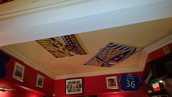 Inverurie, UK: Ceiling of Restaurant with adorned with Italian Football emblems