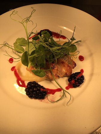 Orleton, UK: Pheasant breast, parsnip purée ,blackberry dressing