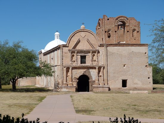Tumacacori, AZ: The exterior of the church; incomplete bell-tower