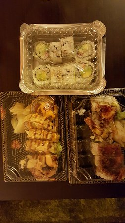 Ridgewood, NY: Left:Take out version. Dynamite Roll, right: Spicy Shrimp, at the top: California Roll.