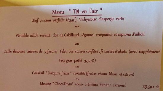 """Ille-sur-Têt, Francia: Menu """"Têt en l'air"""""""