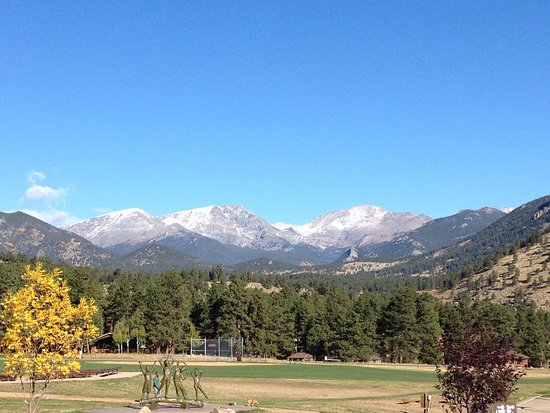 YMCA of the Rockies: View from front porch of main lodge & check-in area